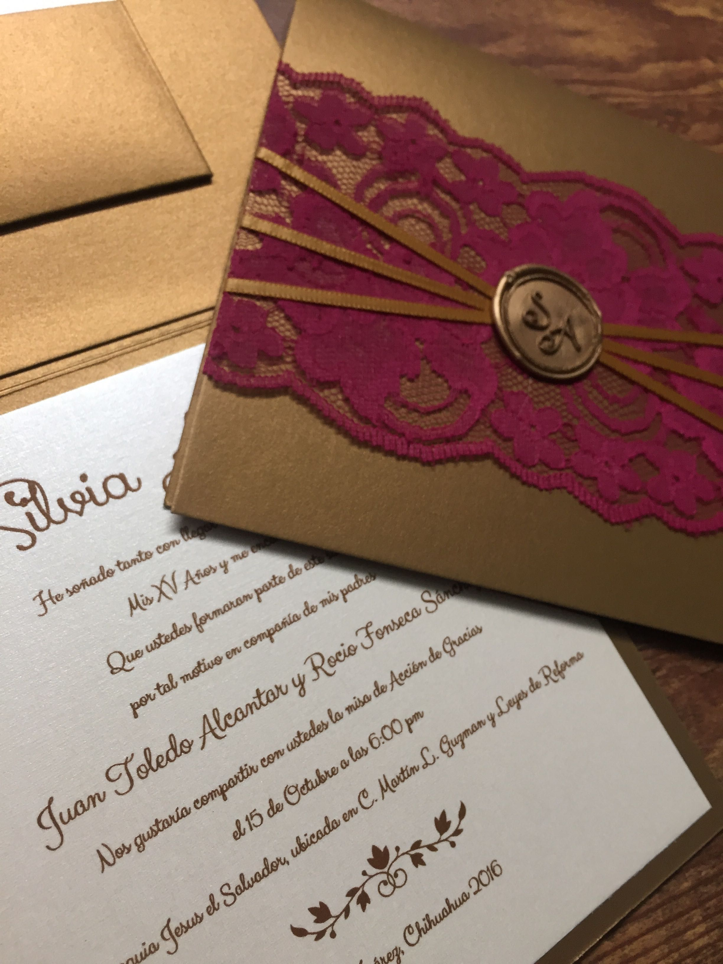 wax seal, magenta lace and raised ink sweet sixteen invitations ...