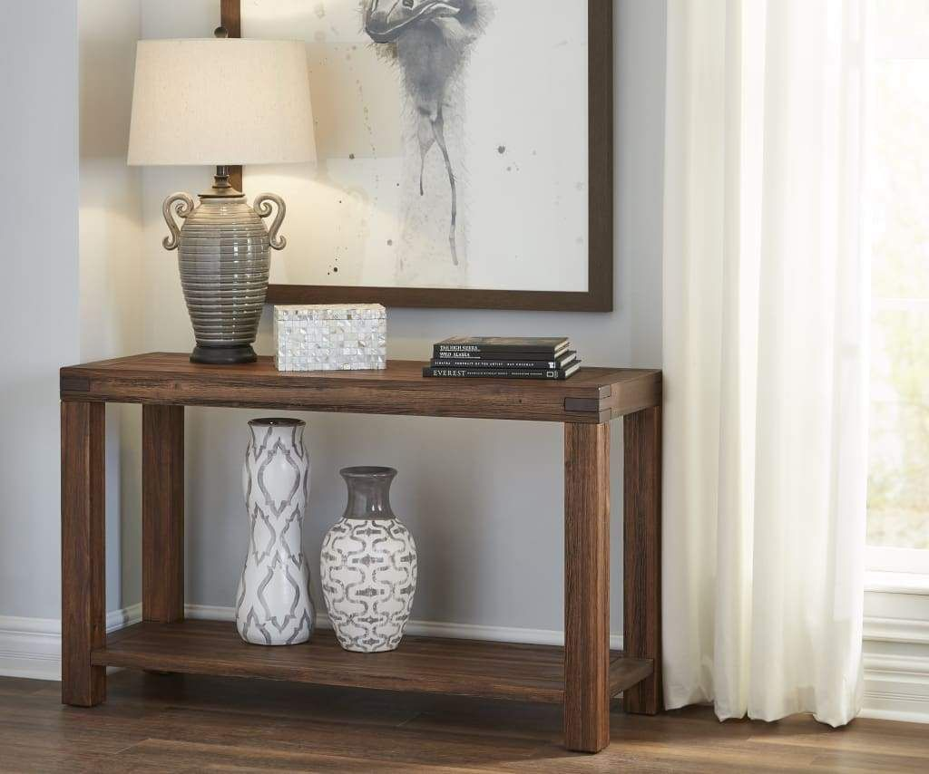 Rectangular Console Table With Tenon Corner Joints And Bottom Shelf Brick Brown In 2021 Rustic Sofa Tables Wood Console Table Rustic Sofa