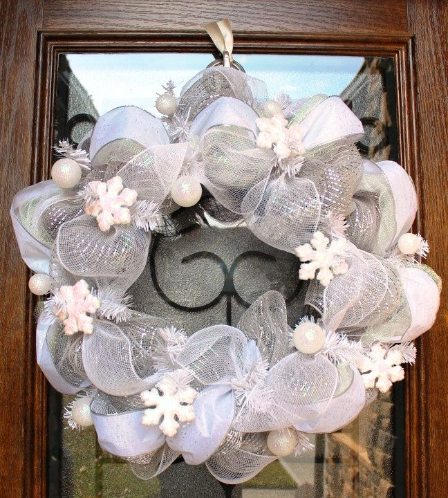 Deco Mesh White Let it Snow Wreath by DesignsByDaniC on Etsy