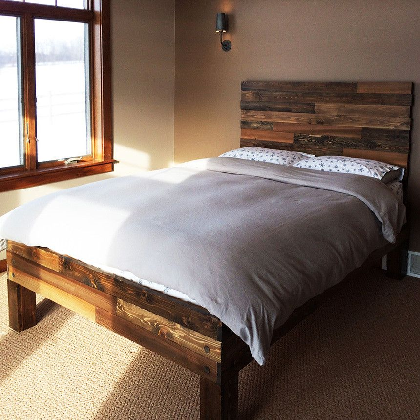 Original Cedar Barnwood Style Bed Frame Headboard Set Handmade In Chicago Usa Bed Frame And Headboard Wood Platform Bed Frame Headboard Styles