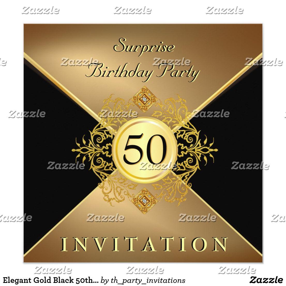 Elegant Gold Black 50th Birthday Surprise Party In Invitation   Zazzle.com    Surprise 50th birthday party, 50th birthday surprise, Birthday surprise  party