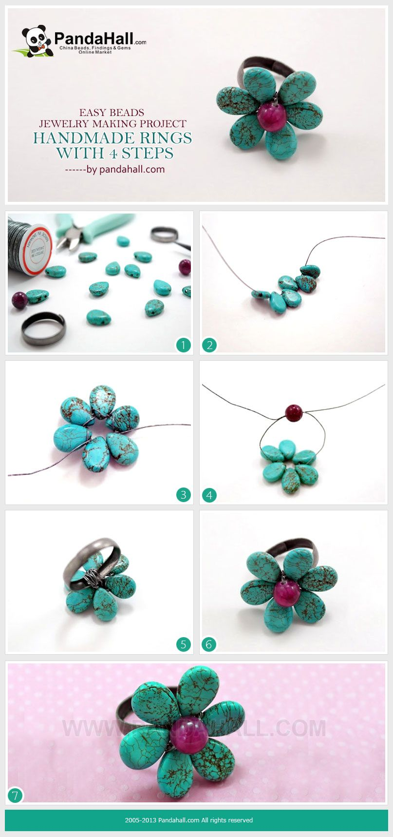 easy beads jewelry making project-handmade rings in 4 steps from