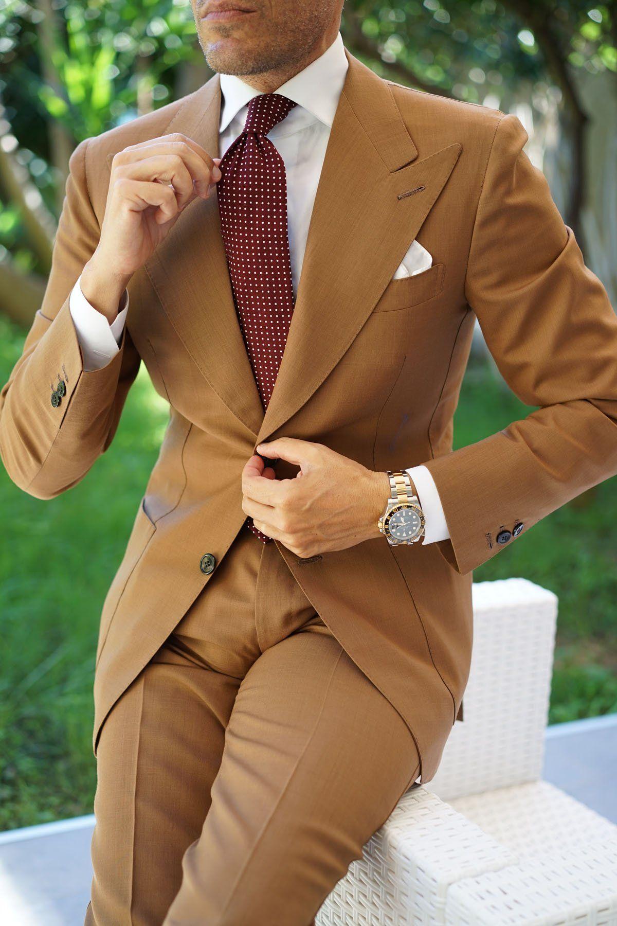 Burgundy Cotton Polkadot Tie Windsor Light Brown Suit Danielre