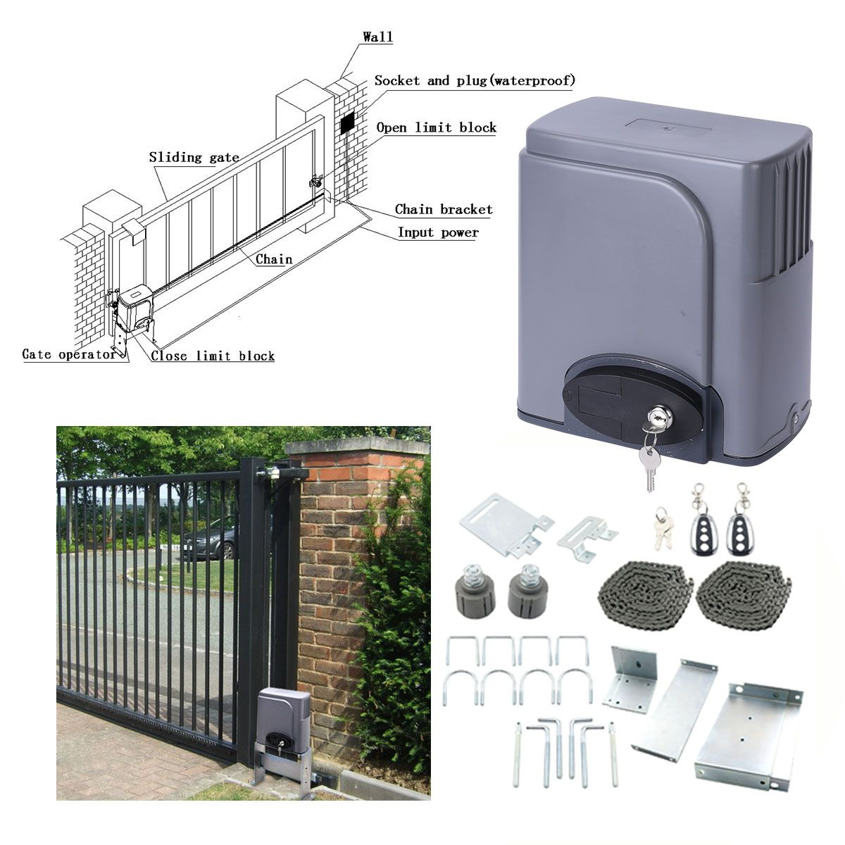 Automatic Sliding Gate Opener Hardware with 2 Remotes