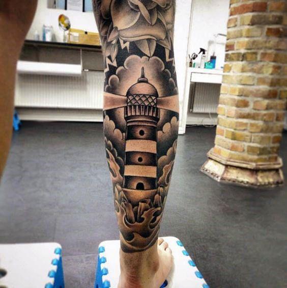 50 Traditionelle Bein Tattoos Für Männer Manly Old School Design