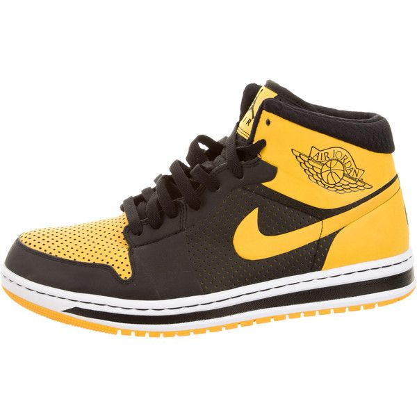 1eb47001bea Pre-owned Nike Air Jordan 1 Retro Sneakers ($125) ❤ liked on Polyvore  featuring men's fashion, men's shoes, men's sneakers, black, mens retro  shoes, ...