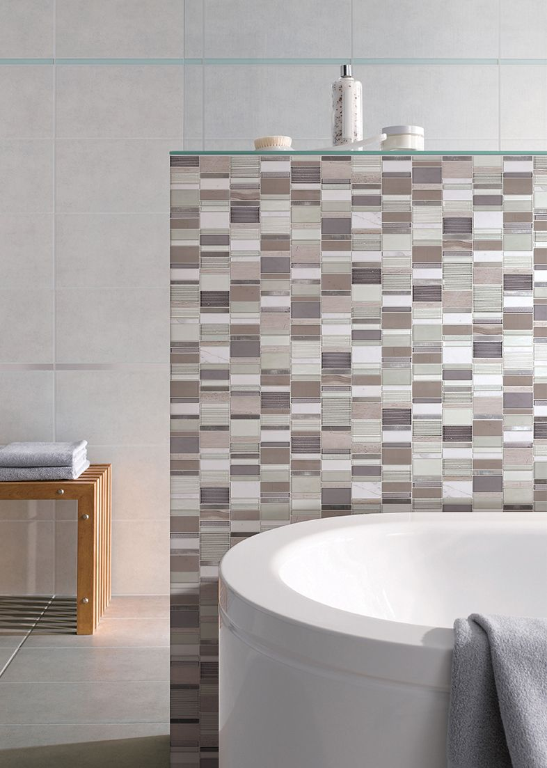 - Feel The Warmth With A Neutral Mosaic Glass Tile Modern Bathroom