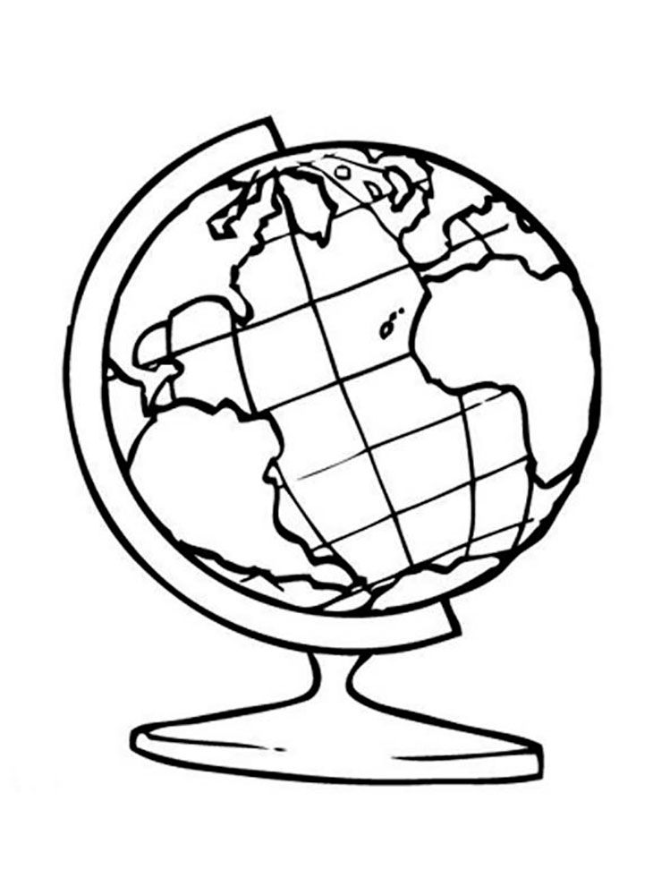 Globe Coloring Pages To And Print For Free Globe Drawing Earth