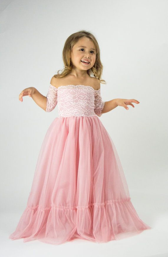 Bohemian Tulle Dress for girl. Flower girl boho off shoulder lace ...