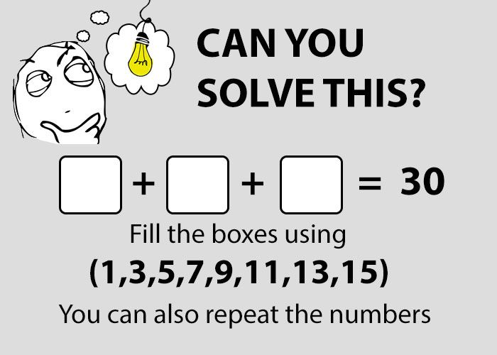 Fill the boxes using these number