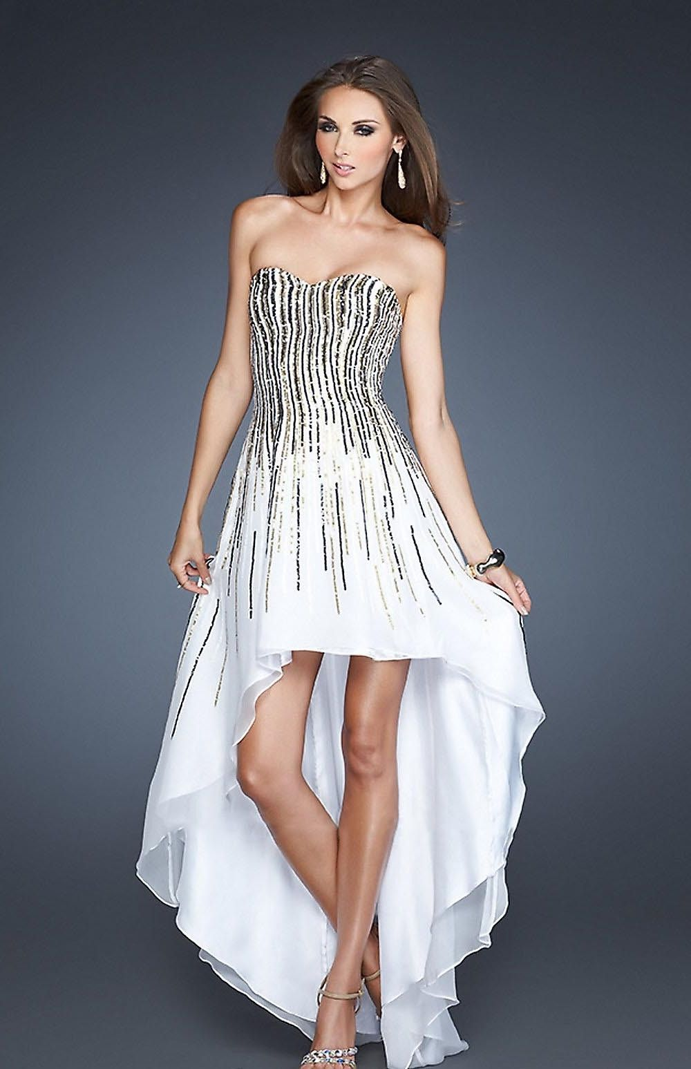 Sequined white highlow homecoming dress sherri hill things to