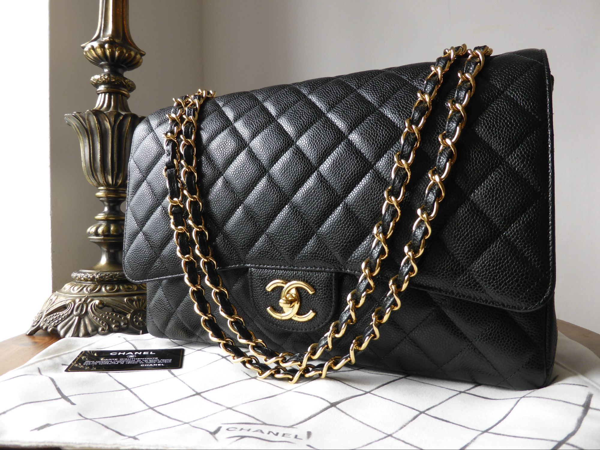 832428a22ca230 Chanel Timeless Classic 2.55 Maxi Flap Bag in Black Caviar with Gold  Hardware > http