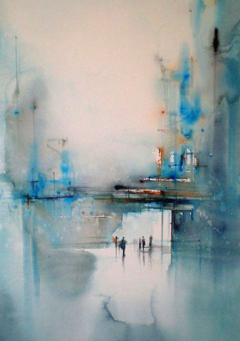 Art Love Rain On The Docks Abstract Painting Watercolour