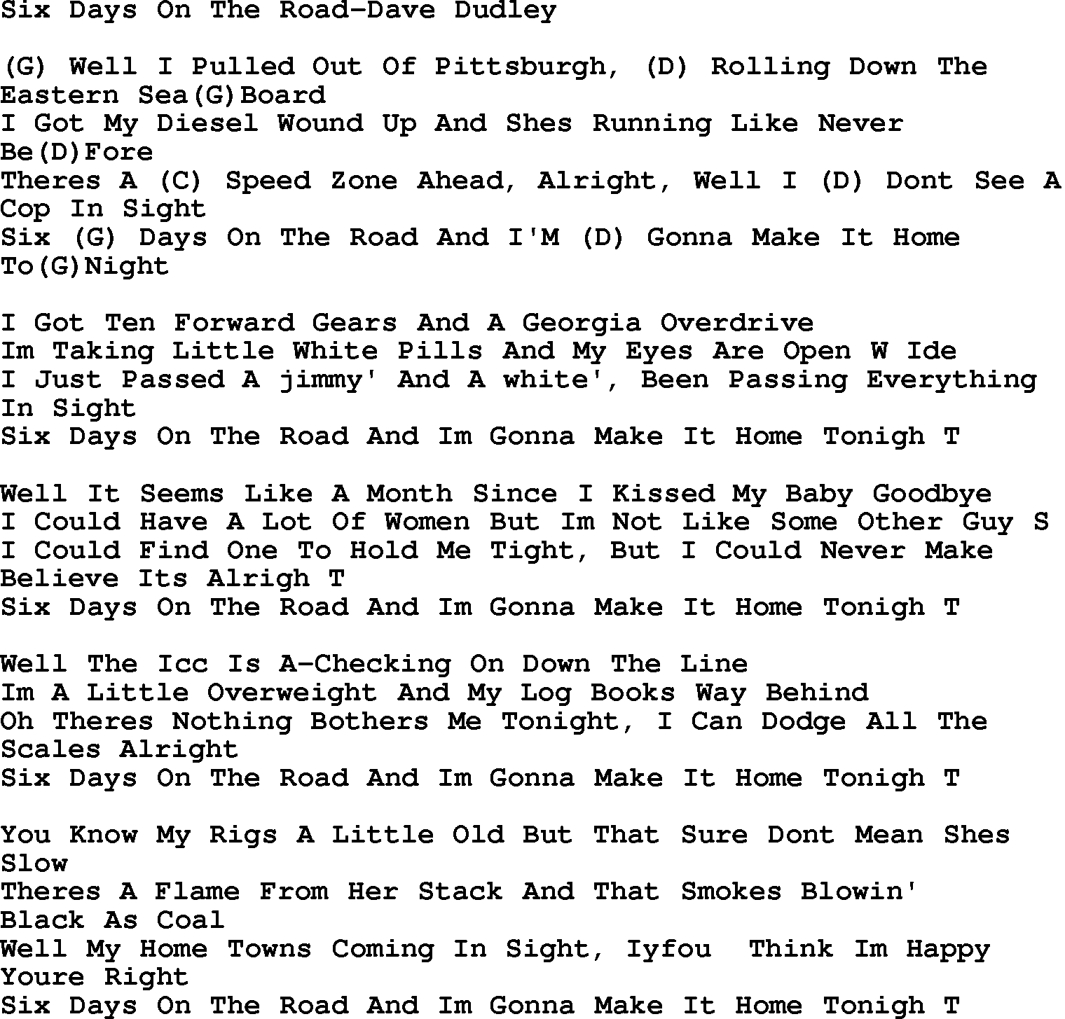 Country Music Song: Six Days On The Road Dave Dudley Lyrics And Chords