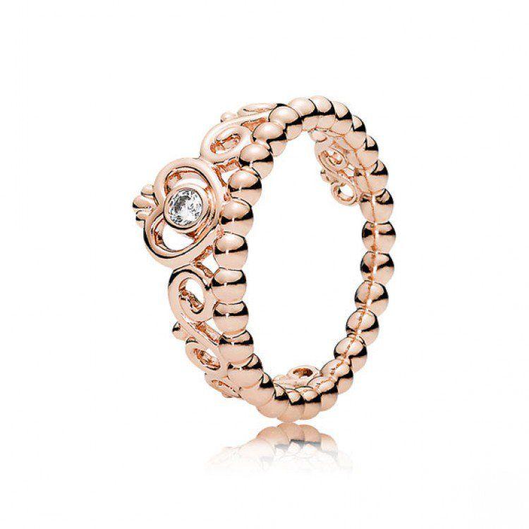 anillo pandora corona oro rosa