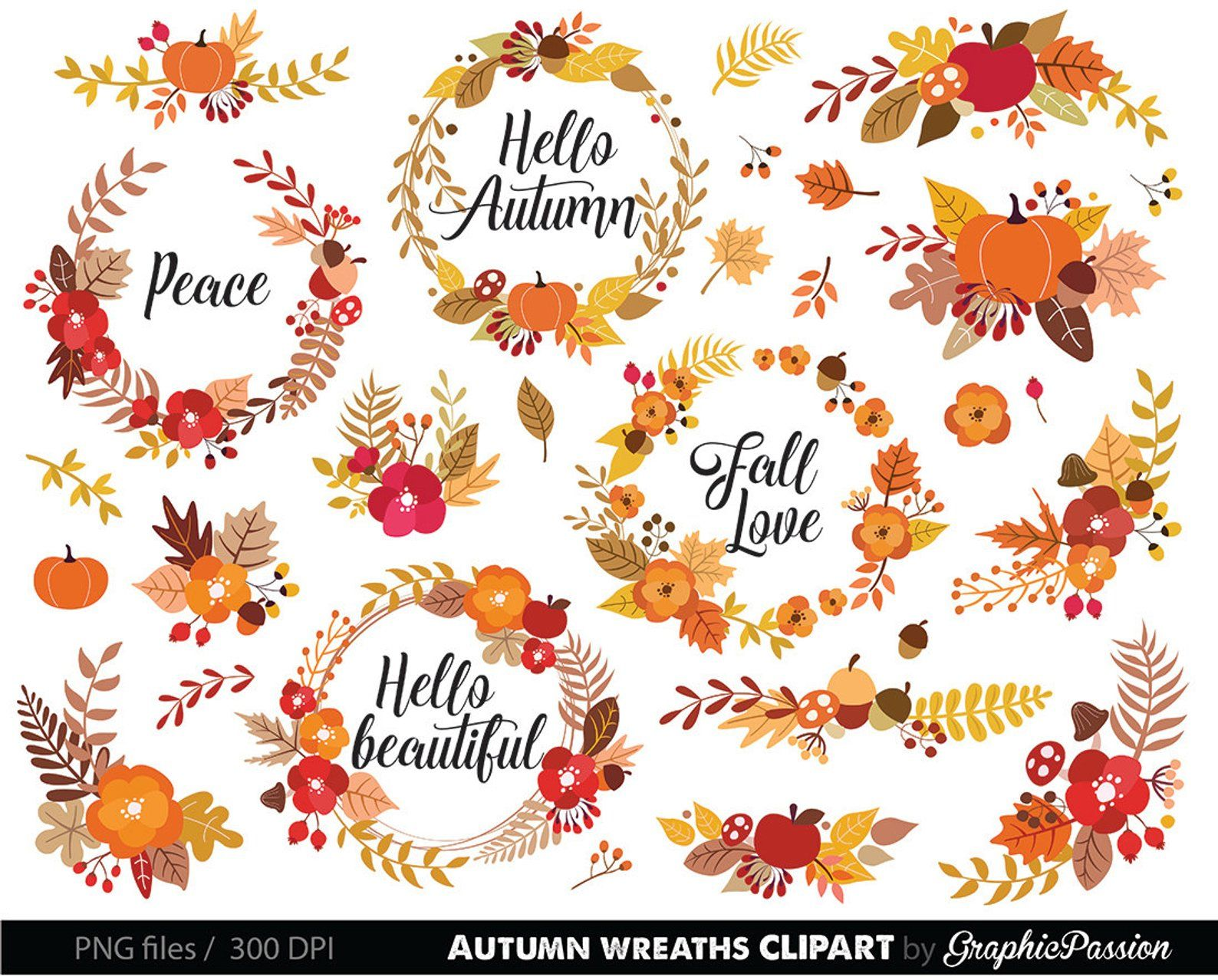 Flower Wreaths Floral Clipart Wedding Floral Clip Art Floral
