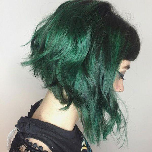 It is high time to try dark green hair dye and all
