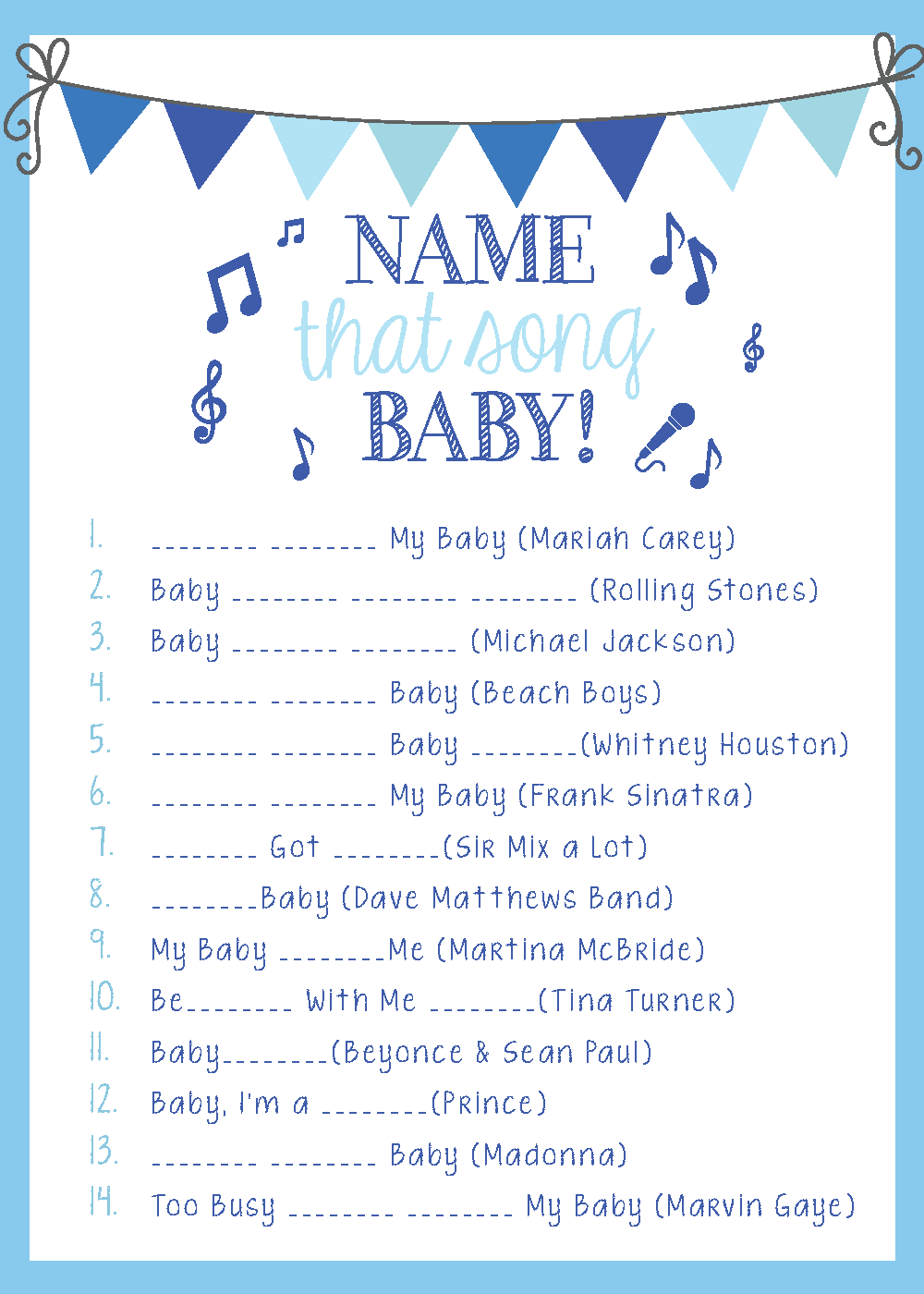 One of the best baby shower games - baby shower name that tune with a list  of FIFTY songs with baby in the title from playpartypin.