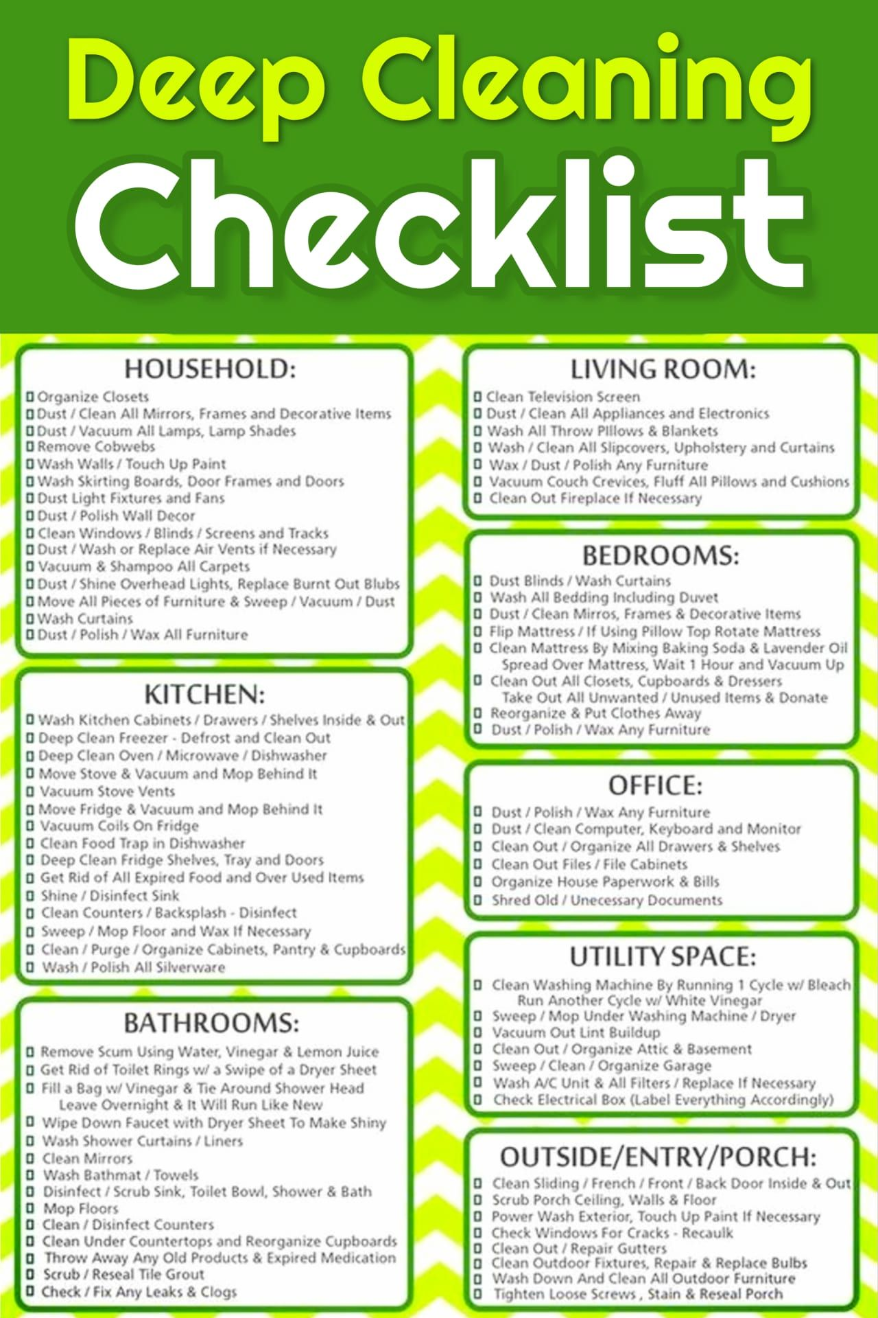 Deep Cleaning Checklist (Free Printable images