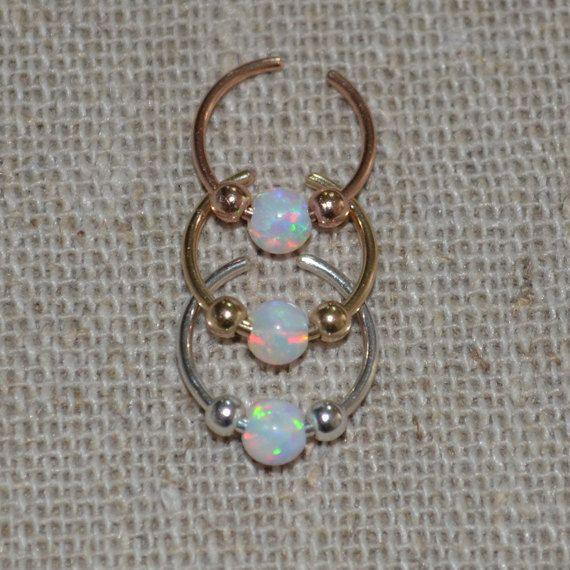 Opal Nose Cuff / Septum Cuff Non Pierced Gold by JustPiercing