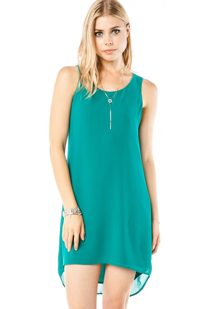 Parrish Dress in Teal / ShopSosie #Teal #Chiffon #Draped #Back #Dress #ShopSosie