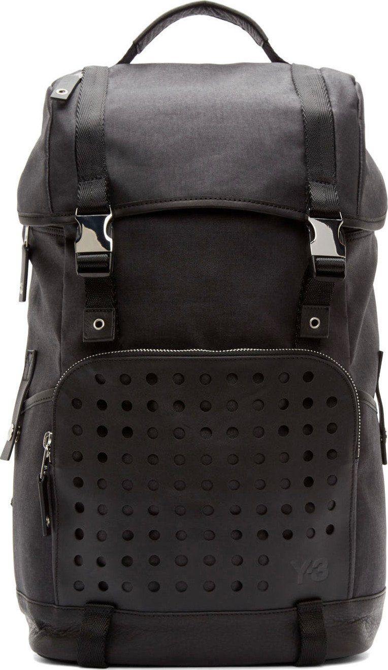 Y-3 Black Toile Hiker Backpack  0bb43a3d0cd61