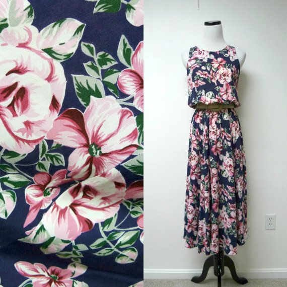 Jane Singer . 80s 90s sleeveless floral printed dress . by june22