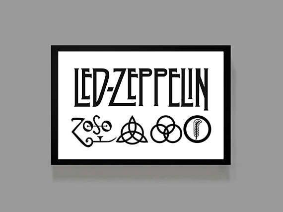 Led Zeppelin Custom Poster Iv Logo Print Album Music Con Imagenes Logos De Bandas Fondos Rock Cartel De Concierto