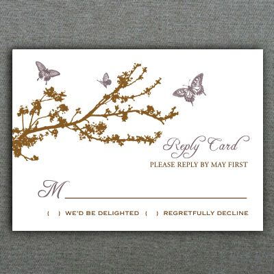 Butterfly \ Branch RSVP Card Template Card templates, Rsvp and - free rsvp card template