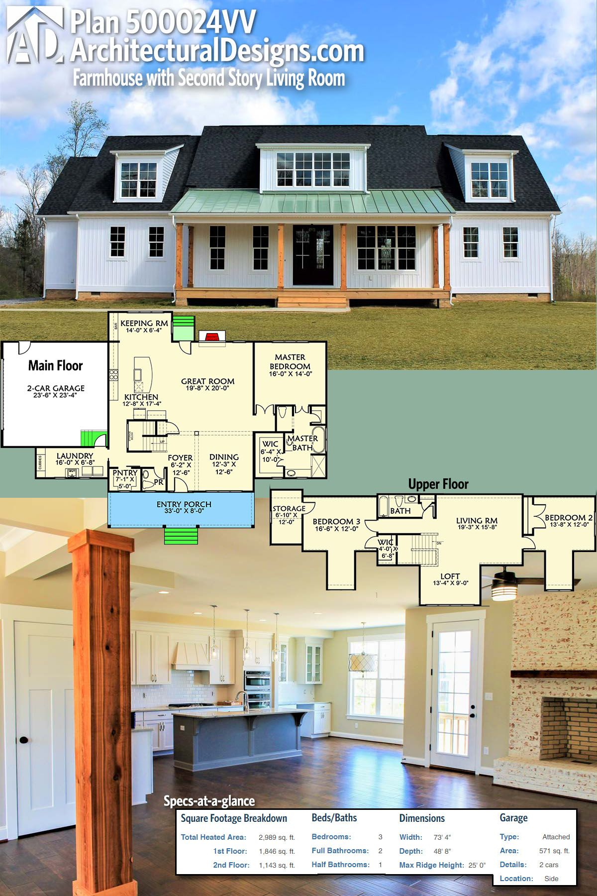 Architectural designs modern farmhouse plan 500024vv has 3 shed dormers and an 8 deep front porch the home gives you 3 beds and over 2900 square feet of