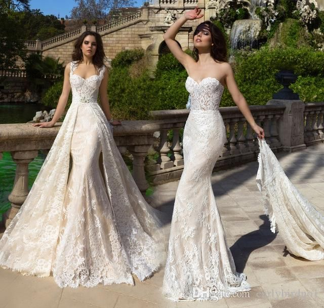 New 2017 Sweetheart Sleeveless A Line Wedding Dresses With Detachable Chapel Train Lace 2 In 1 Bridal Robe De Mariage