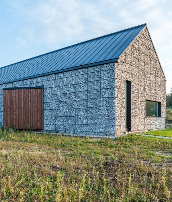 modern architecture,stone walls,wire and stone, Kropka | Barns ...