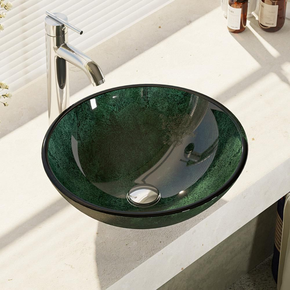 Rene Glass Vessel Sink In Woodland Green And Black With R9 7001