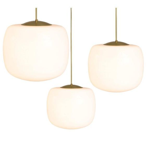 Set Of Three Pendants In Brass And Opaline Glass Opaline Third - Set of three pendant lights