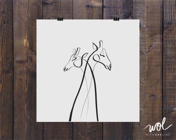 Single Line Art Print : Giraffe art print wall minimal gift animal