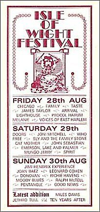 Isle Of Wight Festival Uk 08 30 1970 Handbill Vintage Concert Posters Pop Posters Isle Of Wight Festival