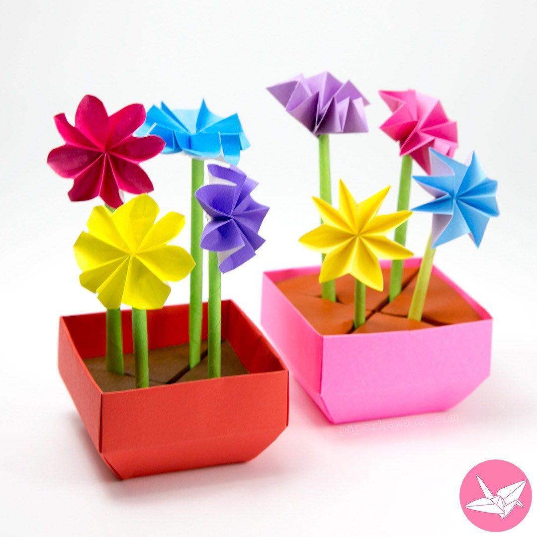 Origami Flower Pot Stem Holder Tutorial Mad Hatters Pinterest