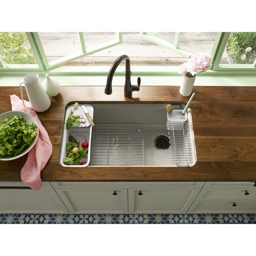 Kohler K 5871 5ua3 0 Riverby White Undermount Single Bowl Kitchen Sinks Efaucets Com Cast Iron Kitchen Sinks Tuscan Kitchen Sink