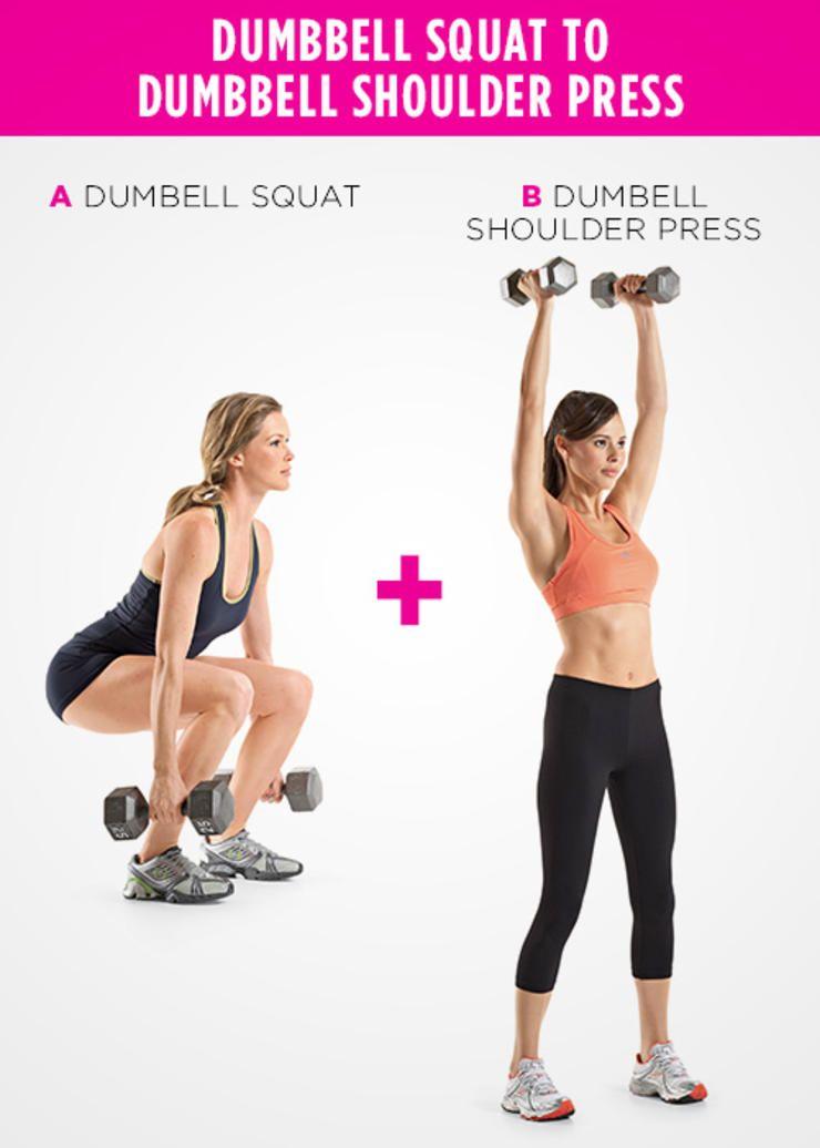Dumbbell Squat to Dumbbell Shoulder Press http://www.womenshealthmag.com/fitness/strength-training-moves/dumbbell-squat-to-dumbbell-shoulder-press