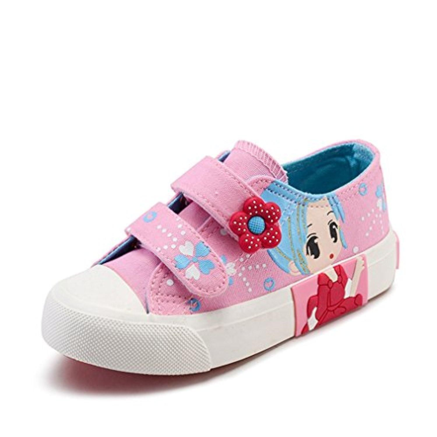 ACETOP fort Girls Velcro Strap Canvas Sneakers Casual Soft Bottom