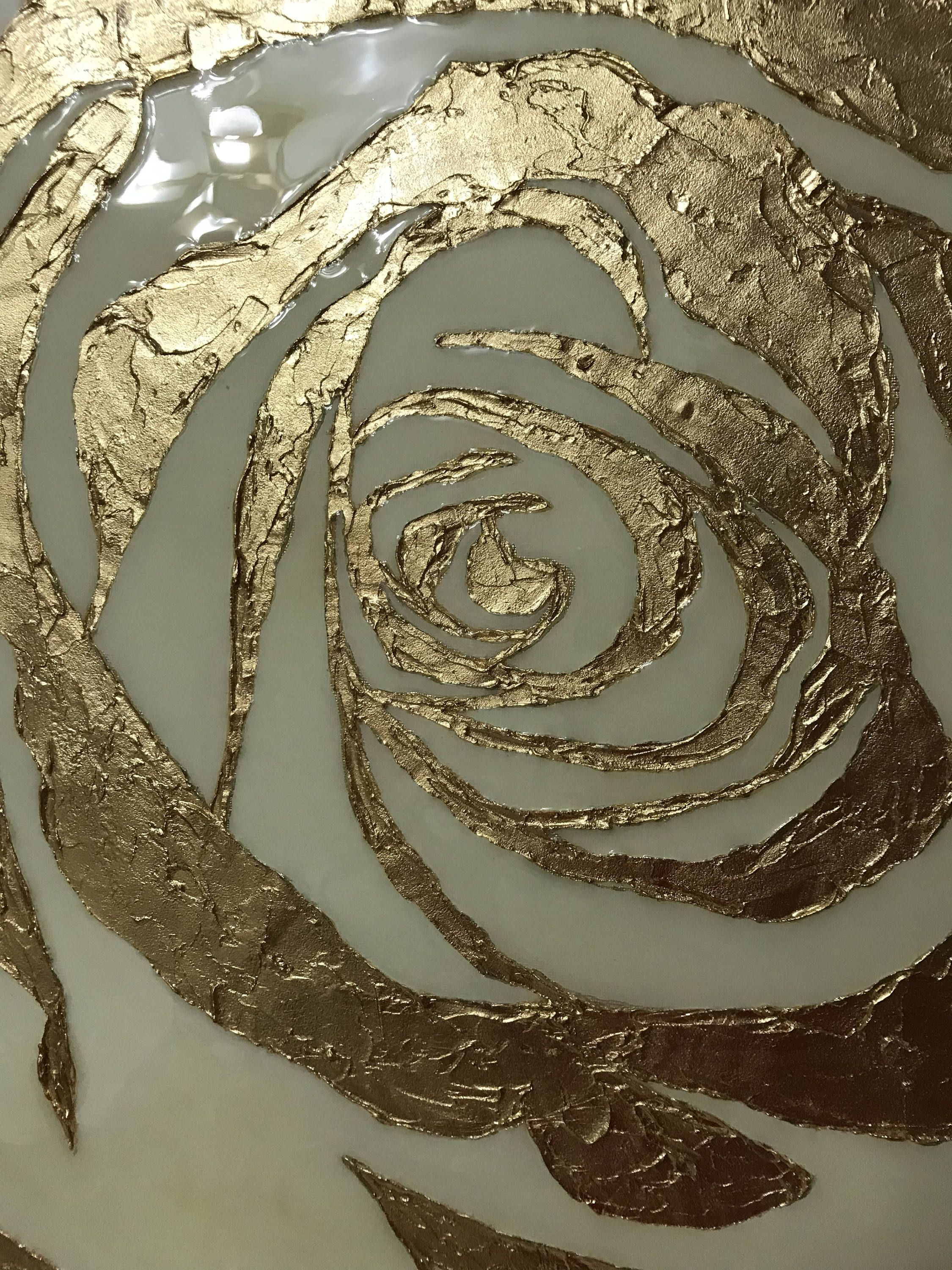 Abstract Rose Oil Painting Gold Leaf Painting Large On Canvas