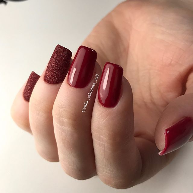 Glossy And Matte Wine Red Manicure Red Manicure Red Nails Wine Nails