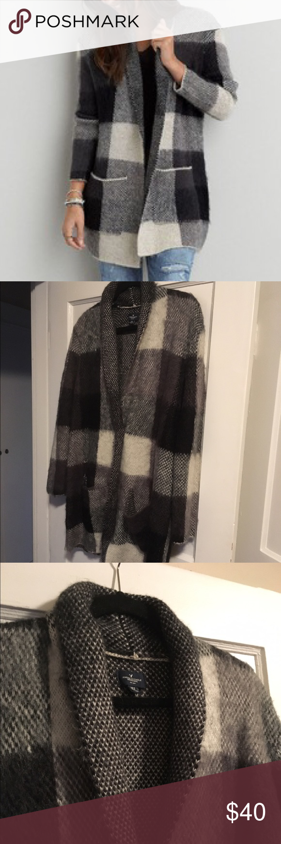 NWOT American Eagle oversized plaid blazer Amazing oversized menswear inspired blazer! Never been worn. Fabrication is: 40% acrylic, 35% nylon, 17% mohair, 8% wool American Eagle Outfitters Jackets & Coats Blazers
