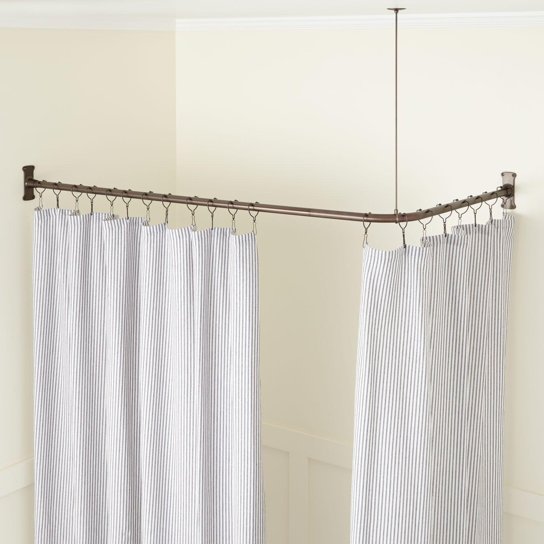 Corner Solid Brass Shower Curtain Rod Bathroom Shower Curtain