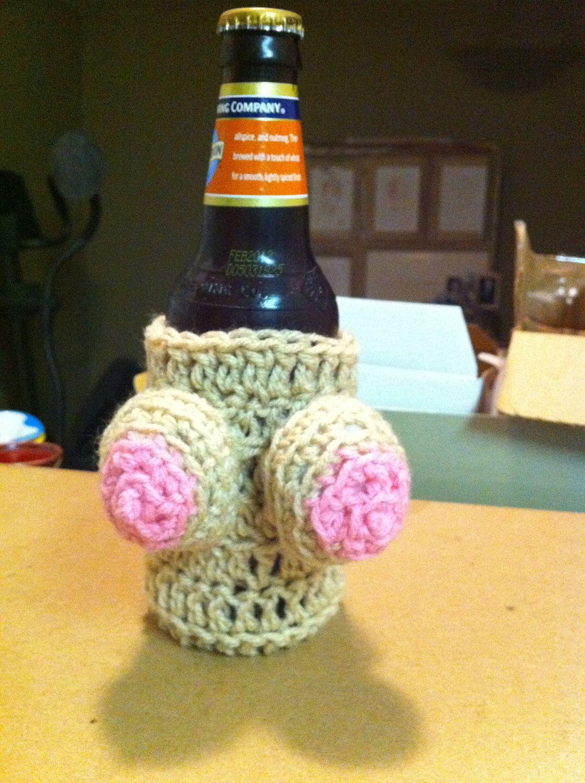 Handmade, Crocheted Boobie Beer Koozie (removable bikini top ...