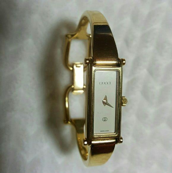 1e53bf5b9ac Gucci ladies bangle watch - Authentic Used ladies gold-tone Gucci  bangle-style watch