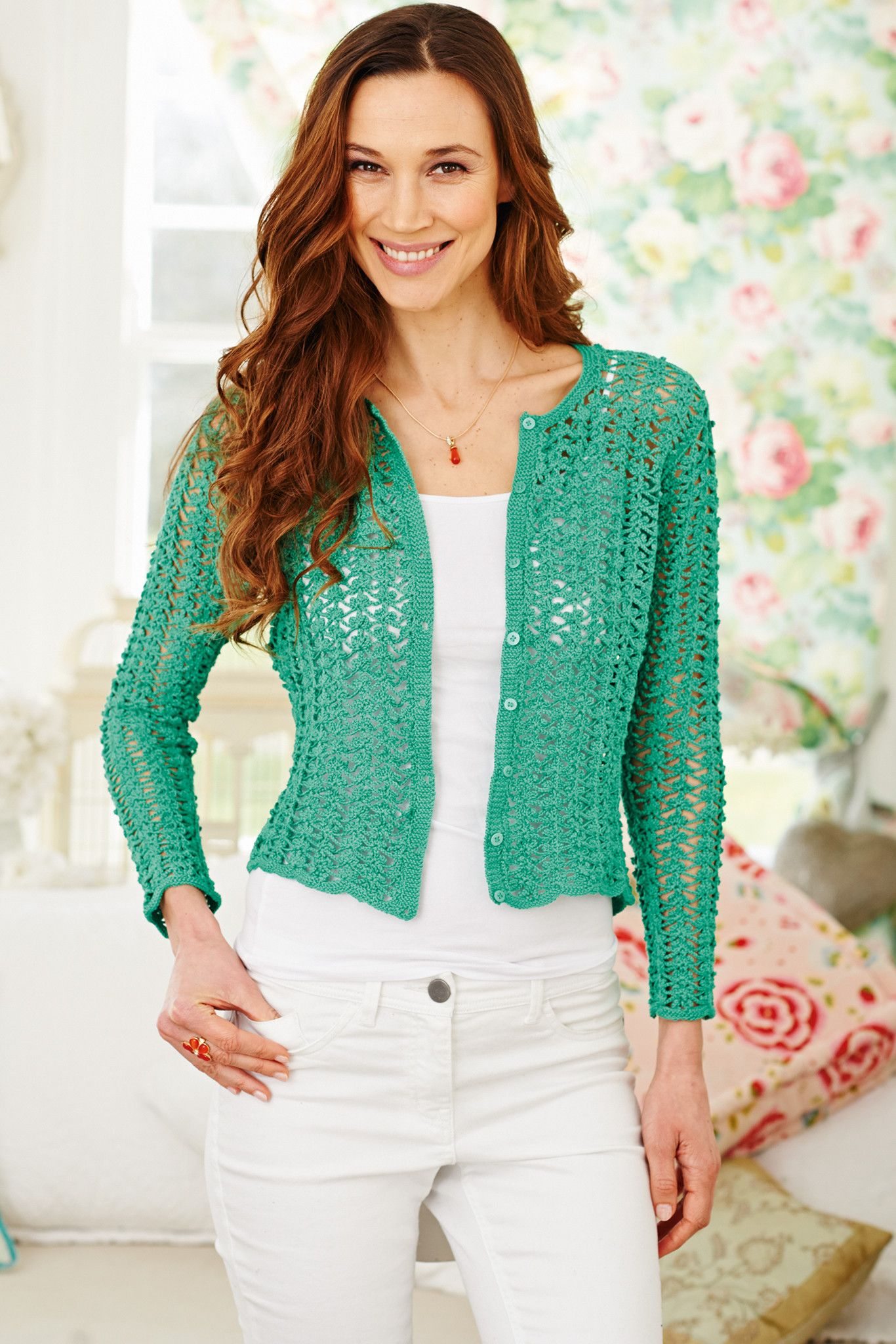 Ladies' crocheted cardigan with a lace look. Shop this women's ...