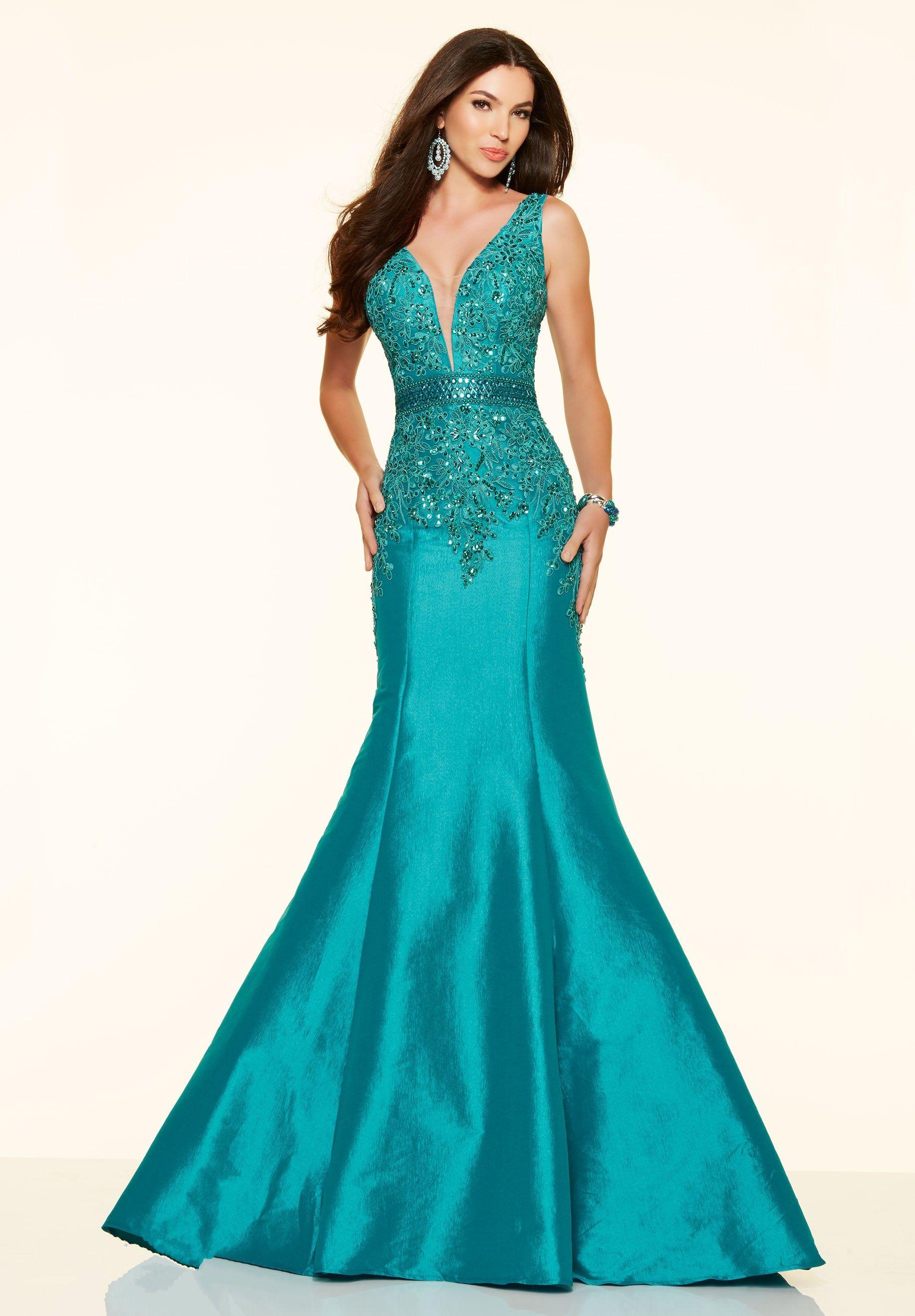 Turquoise V Neck Taffeta Fit And Flare Trumpet Mermaid Prom Dress ...