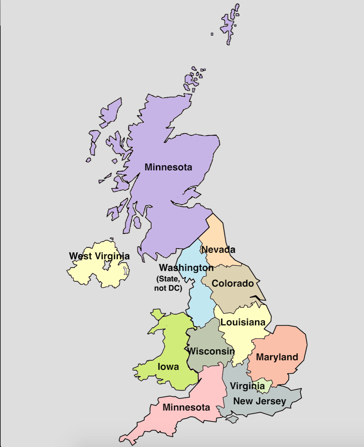 UK regions labeled as US states with similar populations ...