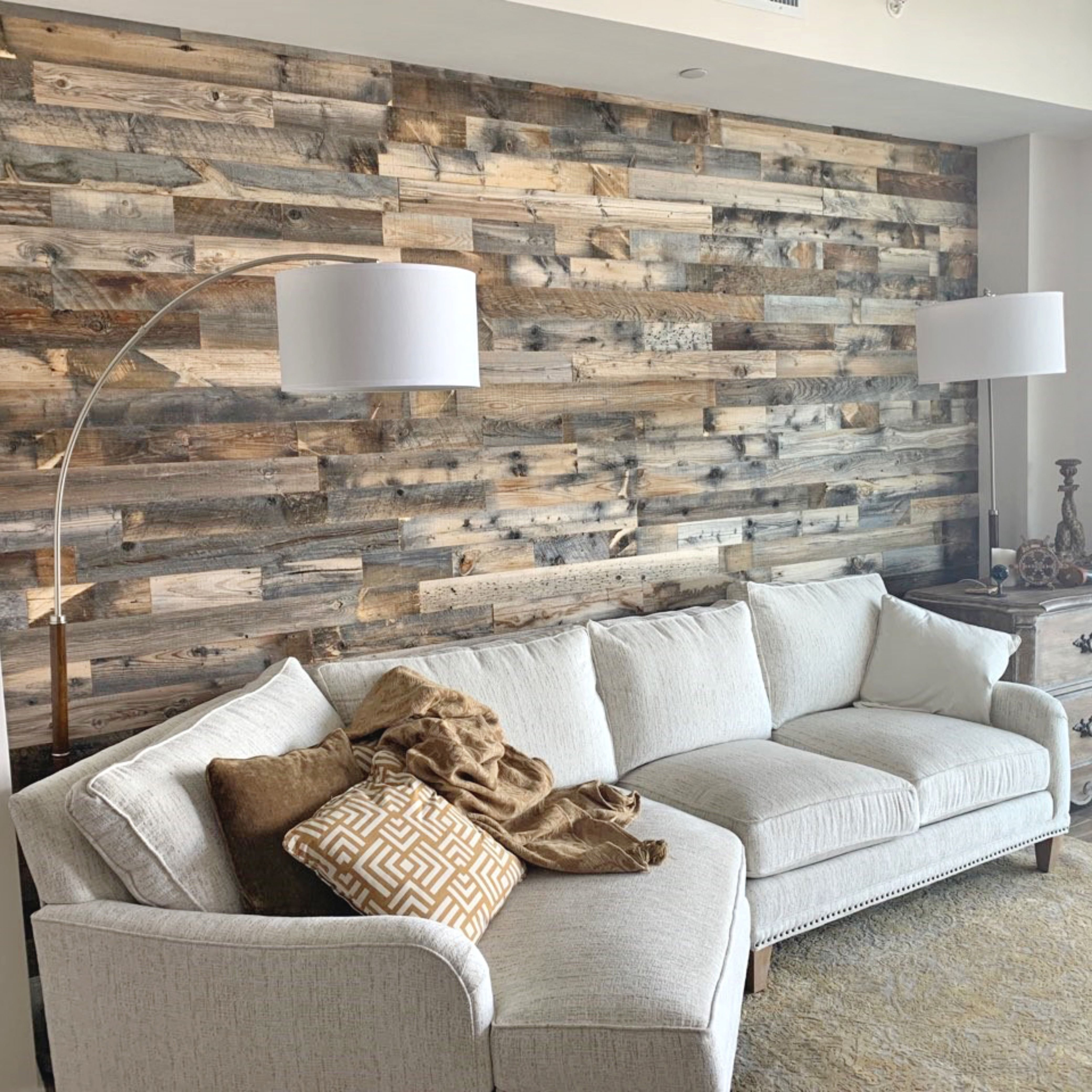 Modern Rustic Living Room Featuring A Reclaimed Wood Accent Wall
